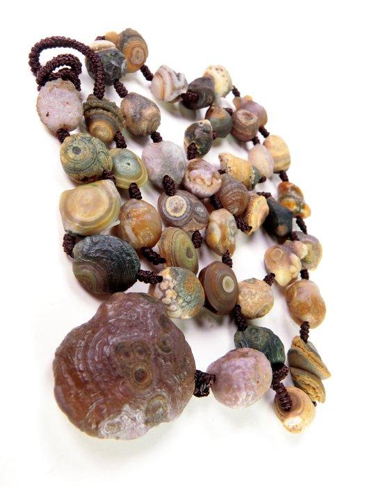 天然戈壁俏色眼石瑪瑙搭紫眼原石瑪瑙珠串項鍊  阿拉善瑪瑙 戈壁瑪瑙