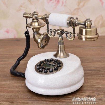 歐式電話機仿古電話機時尚創意田園美式復古電話機天然玉石電話機
