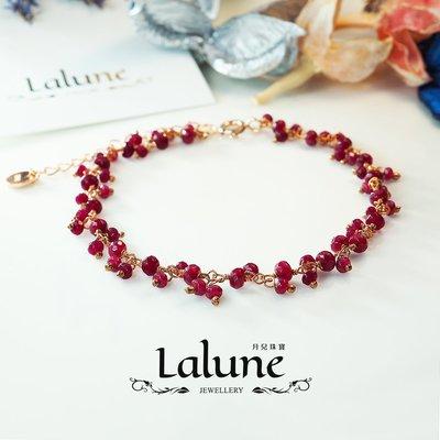 【買一送一】7月誕生石 - 紅寶石串玫瑰金 925純銀手鍊 熱情火紅 天然原礦