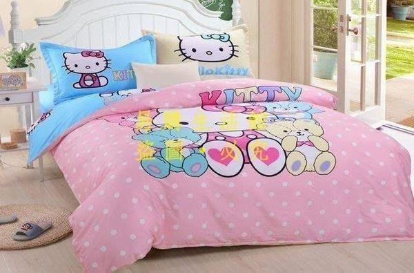 [王哥廠家直销]2款 KT kitty 純棉 標準雙人床包組 床件組(被套/枕頭套/床包)-1.5MLeGou_3077_