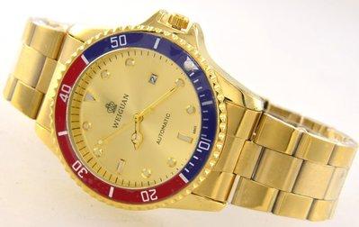 (六四三精品)超大錶徑4.5公分.金鬼王.外框可轉動.全金色自動上鍊機械錶