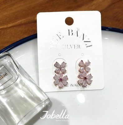✽JoBella 韓國空運 韓國代購 韓貨✽ 二朵花粉晶防過敏針式耳環 現貨+預購