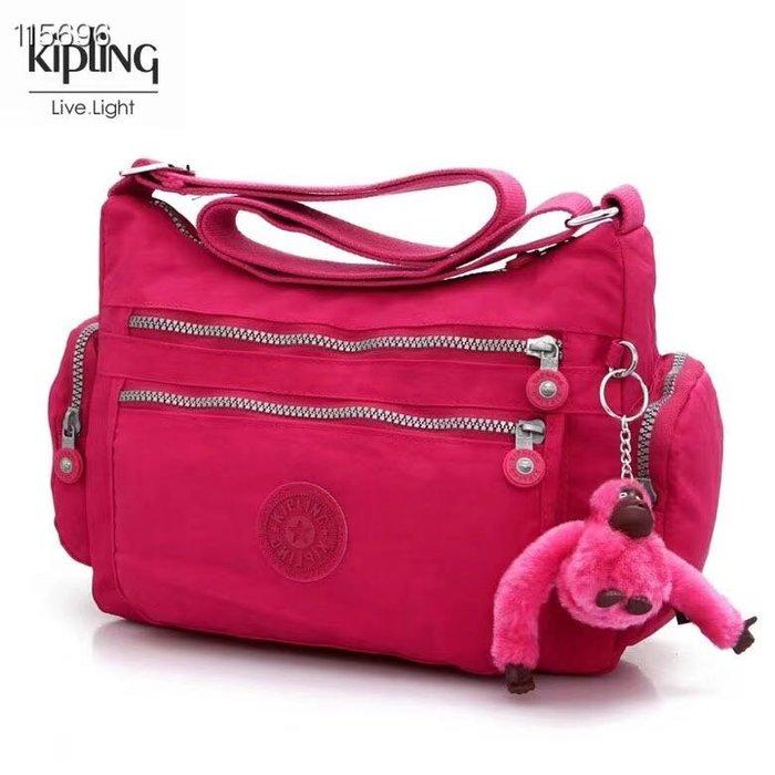Kipling 猴子包  K132127 玫紅 多夾層拉鍊款輕量斜背包肩背包 大容量 旅遊 防水 限時優惠