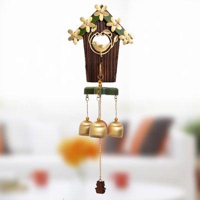 雙譽經典愛巢實木銅鳥風鈴日式金屬掛飾門飾女生創意清新生日禮物