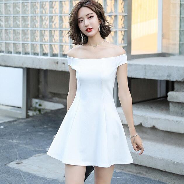 一字肩洋裝 連身裙 女夏季氣質性感小個子穿搭短款露肩流行裙子 小禮服—莎芭