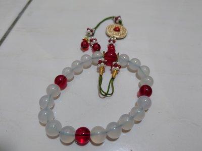 白水晶鑲紅寶石(帶財手環)