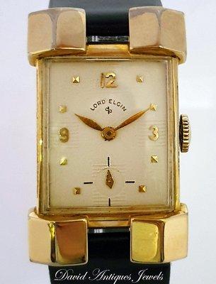 ((天堂鳥)) 新品刊登☞ LORD ELGIN 長方形14K包金手上鍊錶 特殊錶耳造型款☞