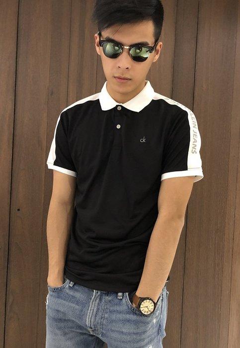 美國百分百【Calvin Klein】Polo衫 CK 短袖 上衣 運動 彈性 拼色  撞色 黑色 XS號 G631