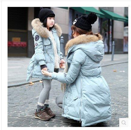 【優上精品】女韓版冬裝中長款羽絨服連帽大毛領加厚親子裝母女羽絨服(Z-P3256)