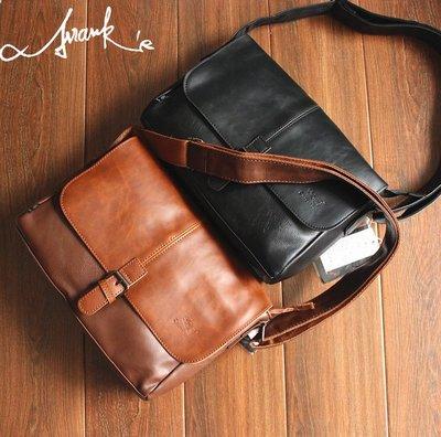 FRANKS自創品牌款咖啡 黑 卡其 3色皮革 信封包 復古 斜背包 中包 肩背 手提 肩背包 可調肩帶 斜背公事包