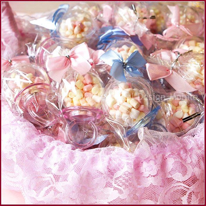 【戒指奶嘴粉彩棉花糖X50份(粉色+藍色各半)+大提籃X1個(限宅配)】-生日分享/活動獎品/婚禮小物/禮贈品/幸福朵朵