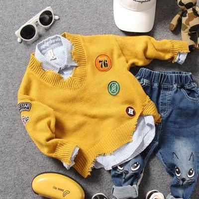 【Mr. Soar】 **清倉** 秋季新款 韓國style童裝男童不規則鬚邊造型毛衣 現貨