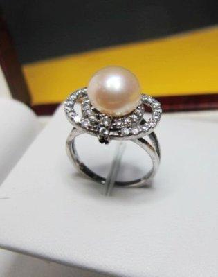 [一品軒庫存促銷品]近圓天然完美無暇南洋珍珠9-10MM3A+級造型戒指