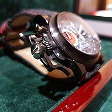 GRAHAM 格林漢 Chronofighter Oversize Black Stuffy 限量手錶 透明錶背盒單齊全