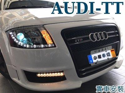 小傑車燈--全新 奧迪 AUDI TT 99 00 01 02 03 黑框LED DRL R8日行燈 魚眼大燈 TT大燈