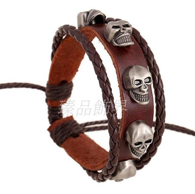 歐美飾品手工串木珠編織牛皮手鍊合金骷髏頭手鍊wholesale