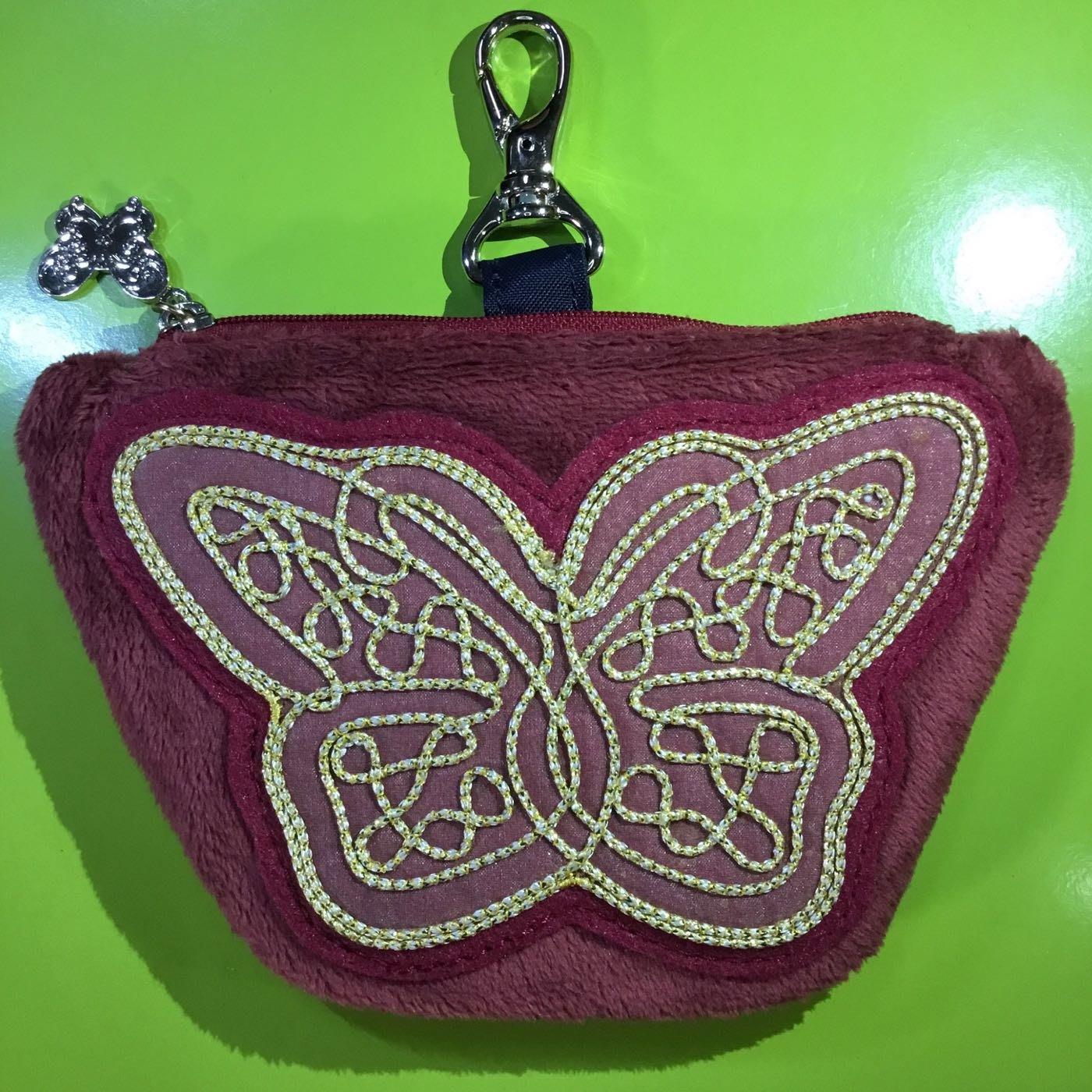 Anna Sui全新正品酒紅色絨毛布面蝴蝶手拿包吊掛零錢包收納包化妝包