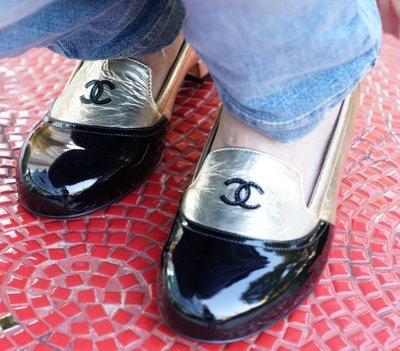 Chanel G30456 Loafer CC 低跟樂福鞋 黑金 sz 36.5 / 37