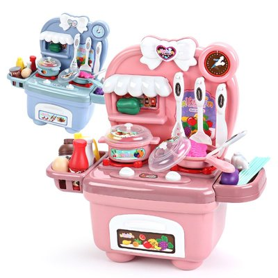 積木城堡 迷你廚房 早教益智仿真廚房過家家寶寶玩具女孩做飯2煮飯4炒菜6燒飯兒童套裝女童3歲
