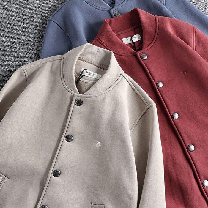 ☆MR.STORE.A☆日單簡約重磅修身抓絨棒球外套夾克(3色)~預購+現貨