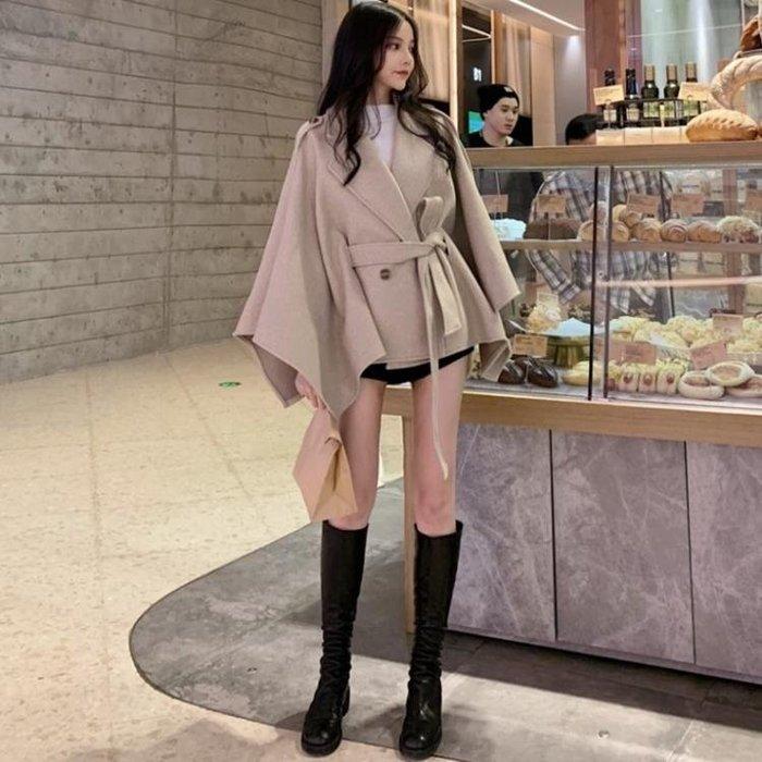 外套 女 秋冬新款寬鬆不規則繫帶斗篷呢子大衣中長款韓版呢子外套女裝