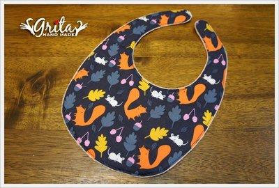 ♥gritas handmade♥純棉手作嬰幼兒圍兜兜/領巾/口水巾/三角巾/彌月禮—小松鼠
