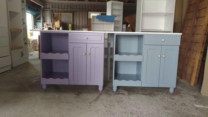 戀戀小木屋  雕花款 中島電器櫃   浪漫紫 原木電器櫃   中島桌