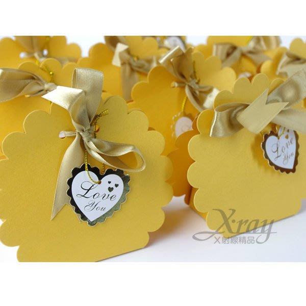 X射線節慶王【B90004】婚禮小物系列-喜糖盒喜糖袋金色小花款