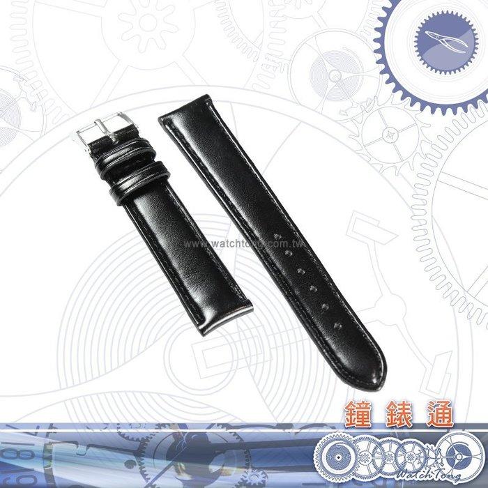 【鐘錶通】舒適系列─牛皮錶帶 ─ 黑色亮面車黑線 18-16mm