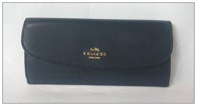 【雍容華貴】美國購入COACH  F52689經典馬車LOGO寶藍信封薄長夾(夜空藍),附美國購買證明.提袋