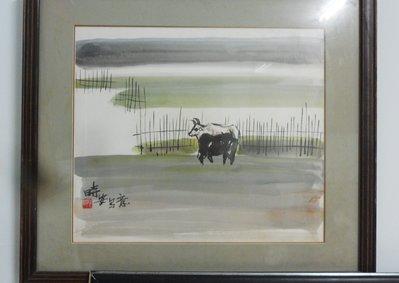 紅色小館(京)--國畫山水原作 牛(有落款)