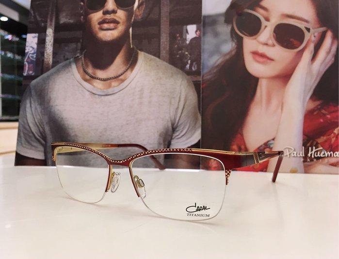 CAZAL 德國精品設計品牌 紅色金邊半框金屬鏡架 優雅的知性美 繽紛的色彩 4259