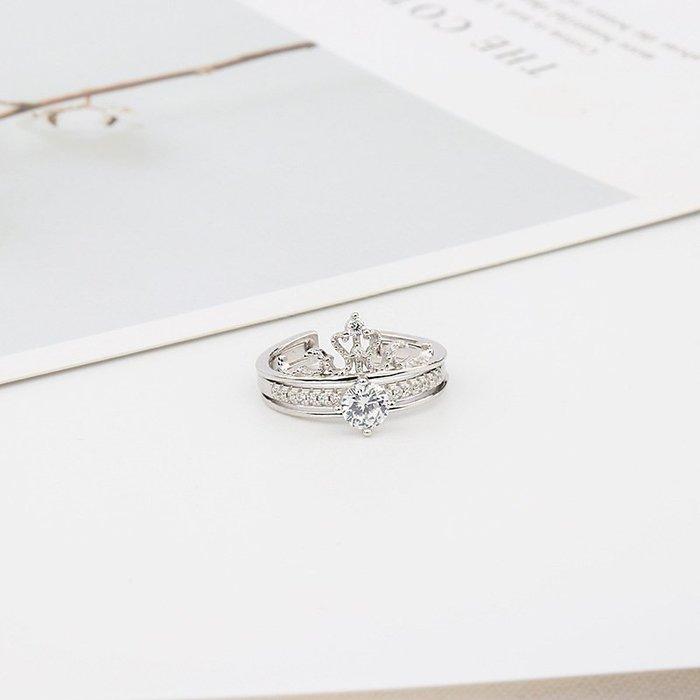 【送禮】可拆卸皇冠戒指二合一微鑲百搭雙層兩件套組合抖音爆款純銀女時尚OL