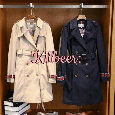KillBeer:經典就是不會被換之 歐美英倫復古Burberry品牌感條紋扣專櫃外流綁帶收腰長版風衣大衣外套zara