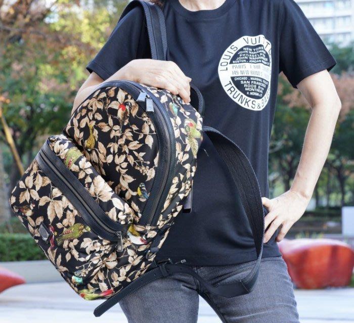 Dolce & Gabbana 超纖皮邊後背包 鳥 / 花卉 黑