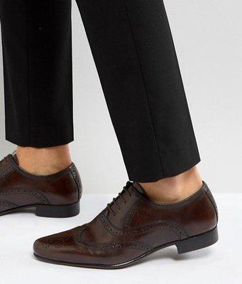 ◎美國代買◎ASOS巴洛克雕花鞋面尖楦頭英倫紳士雅痞風咖啡色巴洛克尖頭鞋帶皮鞋~歐美街風~大尺碼~