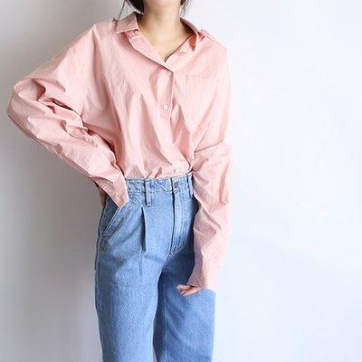 girlmonster 正韓 優質寬鬆長袖襯衫 春夏舒適款 (藍色 粉紅色 白色) 【A0463】