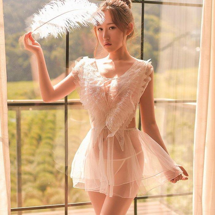 性感睡衣 創意性感 誘惑性感睡衣女夏蕾絲情趣睡裙女神天使之翼大碼透視裝激情挑逗騷套裝