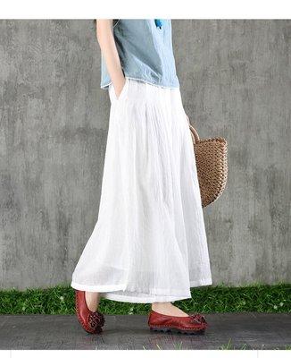 (老銀屋)夏季設計款輕薄棉麻鬆緊腰褲裙