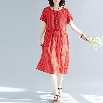 大碼收腰連衣裙時髦減齡洋氣顯瘦微胖女孩穿搭中長款遮肚條紋裙女