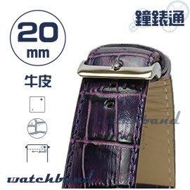 【鐘錶通】C1.22I《亮彩系列-手拉錶耳》鱷魚格紋-20mm 神秘紫┝手錶錶帶/皮帶/牛皮錶帶┥