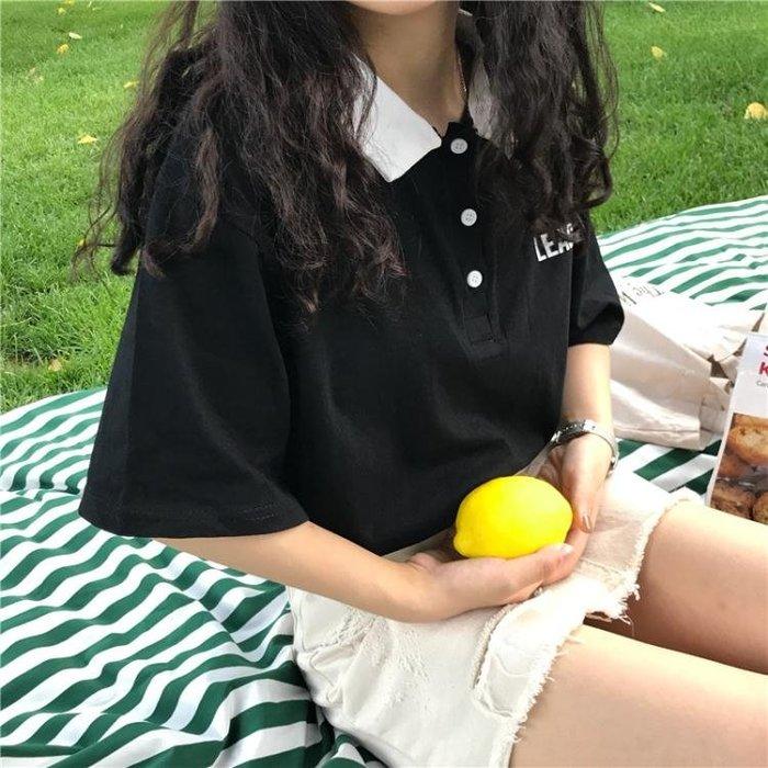 Polo衫 夏季學院風polo撞色領基礎款字母印花短袖T恤衫女學生寬鬆上衣潮【快速出貨八五折下殺】