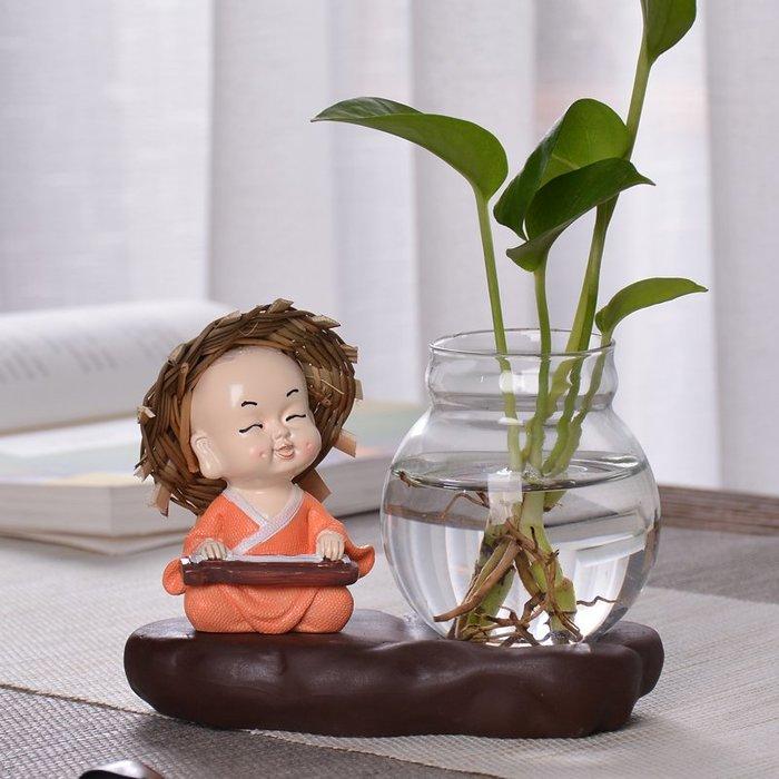 北歐創意 玻璃 家居裝飾創意擺件和尚小花器家居裝飾品客廳綠蘿花插玻璃器皿花瓶水培容器