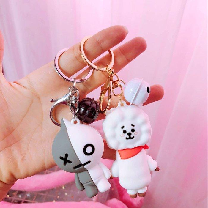 韓國可愛防彈少年團公仔鑰匙扣男女士創意禮物卡通滴膠包包鑰匙鏈卡通鑰匙圈掛飾百搭掛件飾品包包掛飾手機掛飾禮品
