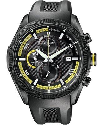 星辰ECO-DRIVE光動能計時賽車膠帶錶-黑色(CA0125-07E) 新北市