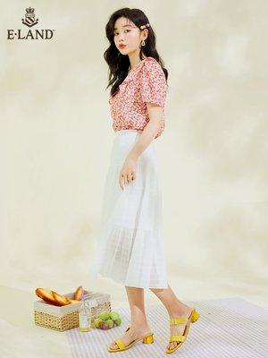 店長推薦  ELAND衣戀年夏季新款時尚甜美氣質方領碎花短袖雪紡襯衫女士