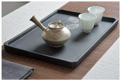 【茶嶺古道】日式 拓印 銀杏葉 手工 粗陶 黑陶 茶盤 托盤 方底盤