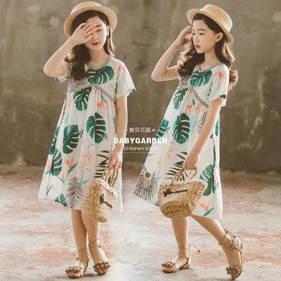 【TA2151】✿寶貝花園✿ -夏季新品 女童 中大童 V領民族風植物印花洋裝 娃娃裙 連衣裙-親子款