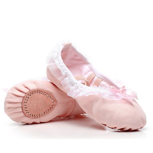 5Cgo【鴿樓】會員有優惠 42343021188 兒童成人芭蕾舞蹈鞋軟底練功演出女花邊毛球跳舞鞋綁帶 芭蕾舞鞋