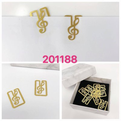 高音譜號方形金屬書簽小夾10個裝 music treble clef metal petit clip paper clip stationery
